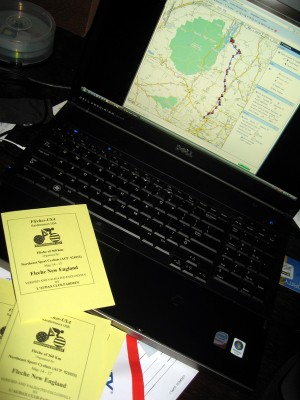 Brevet cards, maps, and a cue sheet...