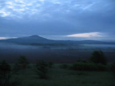 Mt. Philo in the early morning light and fog...