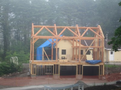 Timber frame addition, recently raised!