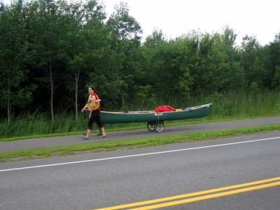 Walking a canoe on the NY side.