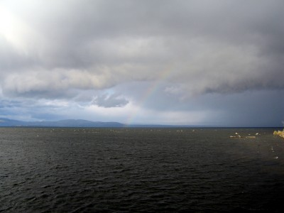 Rainbow over the big lake... and then the rain came!