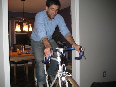 Patrick on the fixed gear Hufnagel, with Edelux lighting his way!
