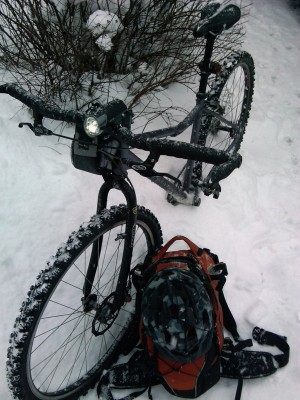 29er, studded tires, and my Indigo backpack with extra layers and an assortment of things I picked up in town...