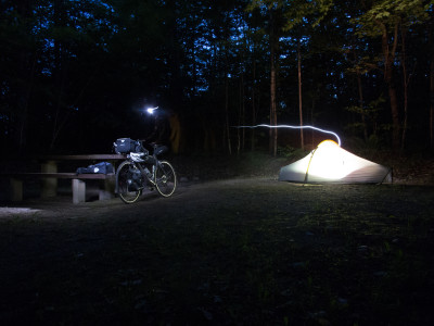 Bike, Tent, Lights, Night